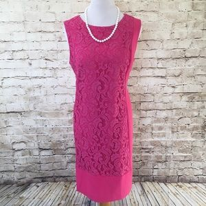 Studio one bright pink & lace detail dress